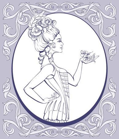 rococo style: Mujer atractiva joven en estilo rococ� en lencer�a de pie y sosteniendo una rosa en la mano