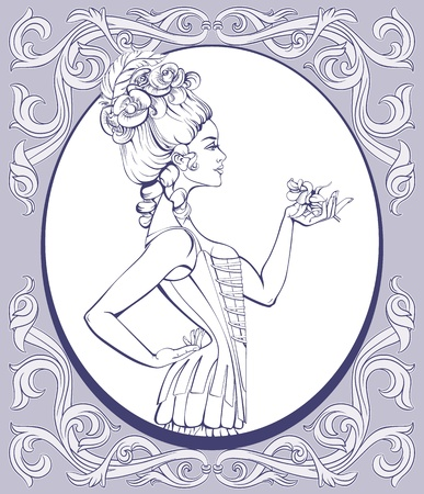 pin up: Young attractive woman in rococo style in lingerie standing and holding a rose in hand Illustration