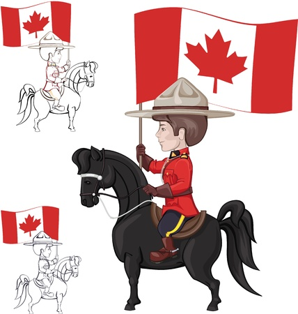Mountie on horse with flag of Canada in hand  Countour also avaiable Illustration