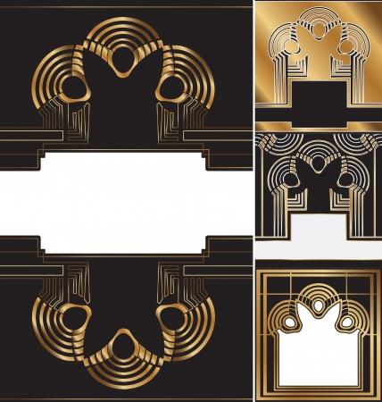 art nouveau vintage: set of vintage labels decorated in  art deco style