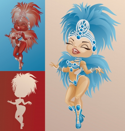 parade: Bright laughing cute cartoon pin-up samba dancers in feather costumes Illustration