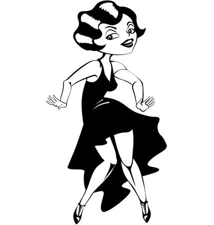 catroon: laughing cute cartoon  dancing flapper girl