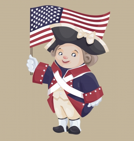 independance: smiley character in Ameriacan Independance War Patriot Costume hold USA flag in hand
