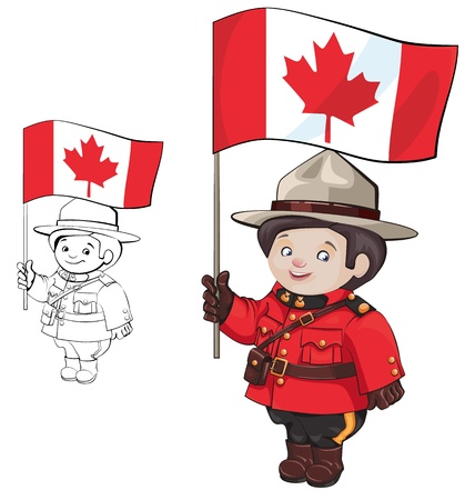 royal person: cute cartoon canadian Mounties  with a flag of Canada in hand  Standing, isolating on white  also countour