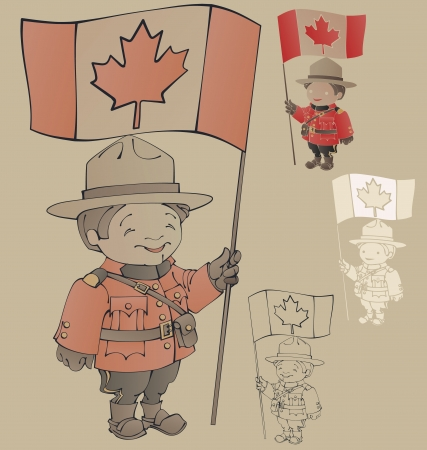 cute cartoon canadian Mounties  with a flag of Canada in hand  Standing  also countour and silhouette Illustration