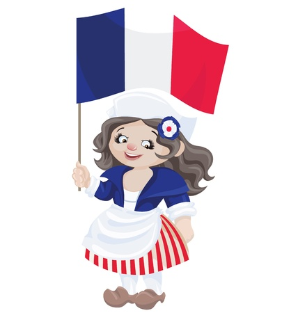 bastille: cute smiling cartoon girl in sans culottes costume for Bastille Day with of flag of French Republic Illustration