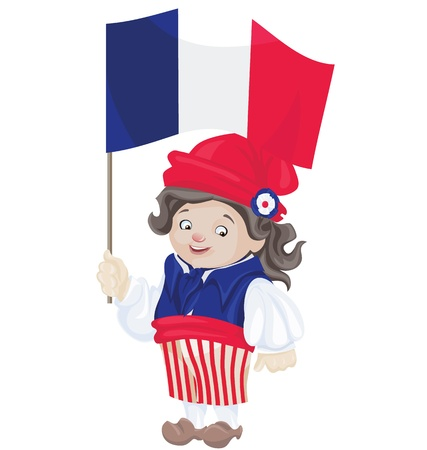 bastille: cute smiling cartoon boy in sans culottes costume for Bastille Day with of flag of French Republic