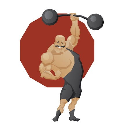 Illustration of cartoon character of circus mighty strong man done in edged geometric style. Man of muscle in leotard lift a  lift a barbell