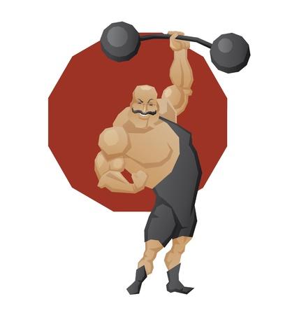 musculos: Ilustración del personaje de dibujos animados de circo hombre fuerte poderoso hecho en estilo geométrico filo. Hombre del músculo en leotard levantar un ascensor de una barra