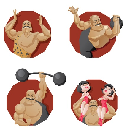 Illustration of cartoon character of circus mighty strong man done in edged geometric style. torso of smiling man of muscle with dambbell, barbell and girls on shoulders