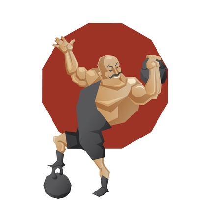 crossbar: Illustration of cartoon character of circus mighty strong man done in edged geometric style. Smiling man of muscul lift a weight