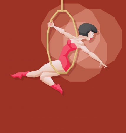 Aerial cirsus artist performance  Pin up vintage style Vector