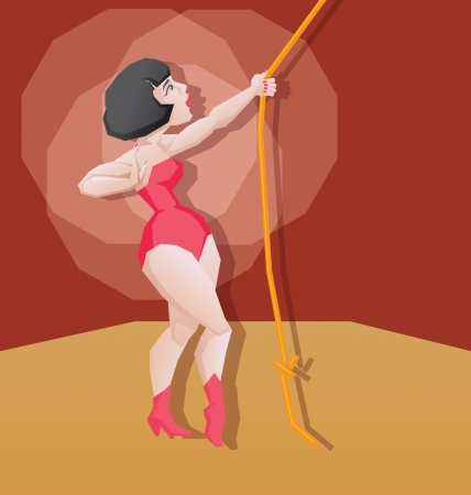 Aerial cirsus artist performance  Pin up vintage style Stock Vector - 21432281