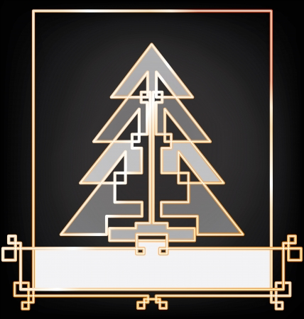 arbre: Christmas card background stylized in art deco enamel bijou look style, geometric, black - white- gold