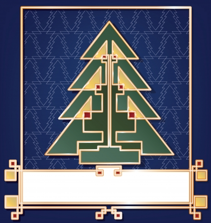 art deco frame: Christmas card background stylized in art deco enamel bijou look style, geometric, colored