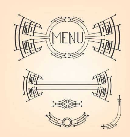 devider: Header, footer, devider and corner  Geometrical Art Deco stylized decoration set  No type were used  Lettering meked for this set