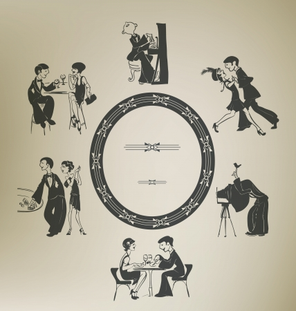 '20s': Set of characters in vintage party activities. Illustration