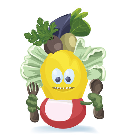 spinach salad: Design of character of a cute cartoon salad Illustration