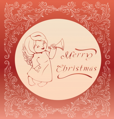 Carol singing Christmas angel rich decoration floral baroque ornament  linework  no font were used  Hand calligraphy Vector