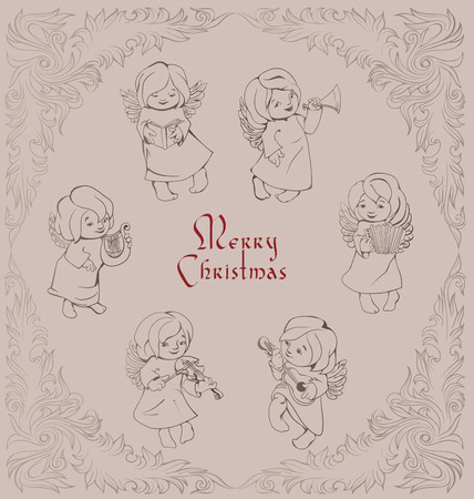 High decorated rich ornament of frosty pattern angels singing Vector