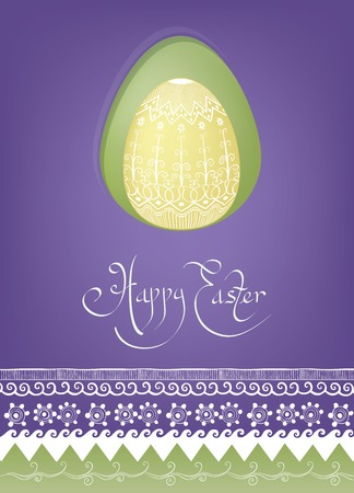 ethnics: rich decorated with ethnic ornament Easter egg cards design Illustration