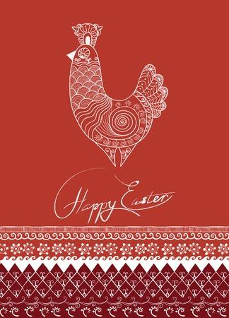 ethnics: rich ornated  ethnic decor Easter rooster or hen cards design Illustration