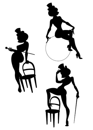 bailarines silueta: siluetas de cabaret o artis femenino burlesque Vectores