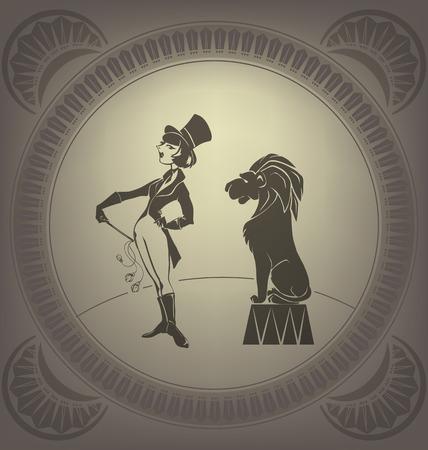 flappers: Artista de circo joven realice domador de estilo Art Deco Flapper truco