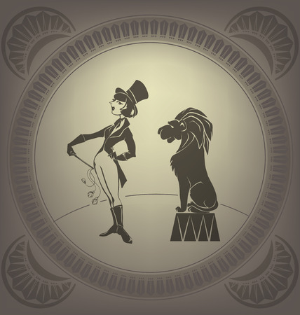 gimmick: Young circus artist perform tamer trick  Flapper style  Art Deco Illustration