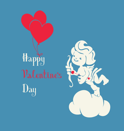 selebration: Background design with loughing silhouette cupid holding two heart balloon Illustration