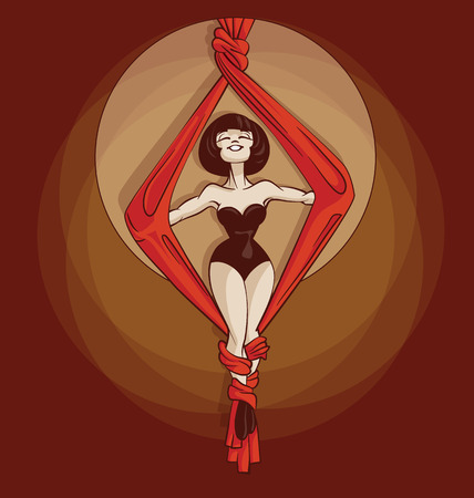 gimmick: Young circus artist perform aerial silk rope stunt. Pinup cartoon style