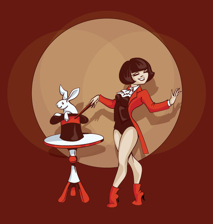 gimmick: Young circus artist perform illusionist stunt. Pinup cartoon style Illustration