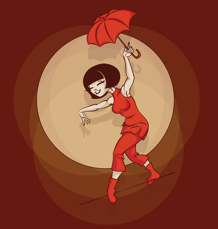 gimmick: Young circus artist perform rope-dancer stunt. Pinup cartoon style