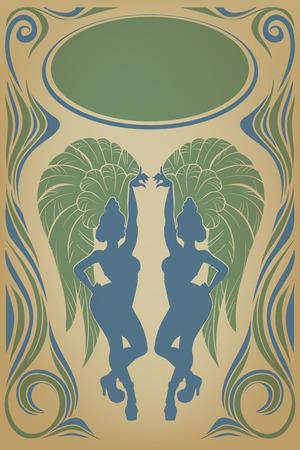 vintagel: Design of retro poster with cute dancerr Illustration