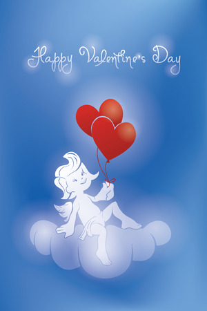 selebration: Background greeting card design with  silhouette of loughing cupid holding two heartshape  balloon