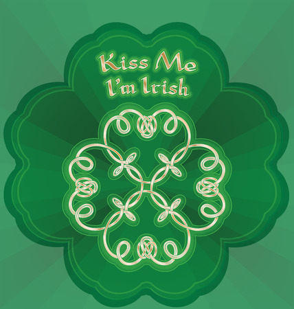 Background with Kiss me I`m Irish lettering and Shamrock. Gold shamrock in knot style Vector