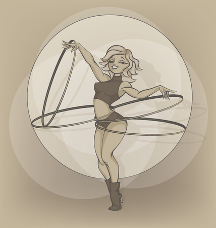 gimmick: silhouettes and inkpen of circus performer. Cartoon.hoola hoop hooping