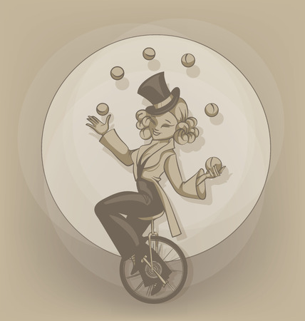 gimmick: Young circus artist performe quilibrist juggling balls and illusionist. Pinup cute cartoon style