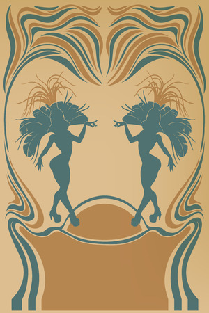 vintagel: Design of burlesque retro poster cute samba dancer Illustration