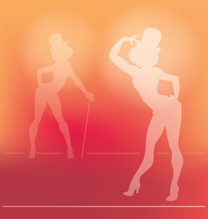 pin up style silhouette of dancing woman perform cabaret burlesque show 向量圖像