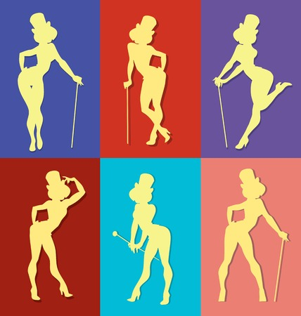 burlesque: pin up style silhouette of dancing woman perform cabaret burlesque show Illustration