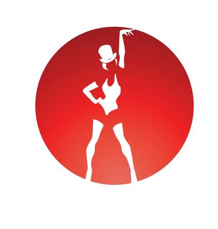 Poster disegno pin up stile silhouette di donna danza eseguire cabaret burlesque Vettoriali