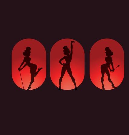 Poster ontwerp pin up stijl silhouet van dansende vrouw uitvoeren cabaret burleske tonen Stock Illustratie