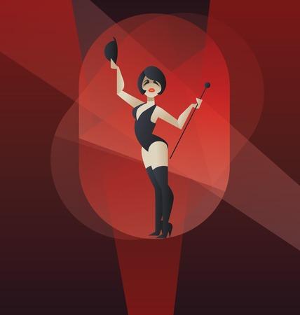 flappers: Diseño del cartel de estilo Art Deco de mujer bailando realizar espectáculo de cabaret burlesque Vectores
