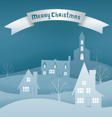 Paper cut scene for Christmas card with night winter village. Santa with raindeer and sleight. Banner, lettering Illustration