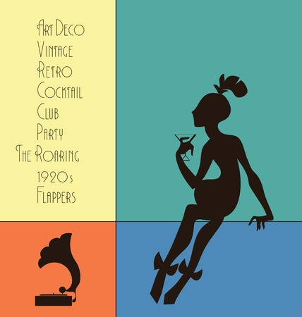 30s: Art Deco style poster design, woman silhouette, lettering for retro party