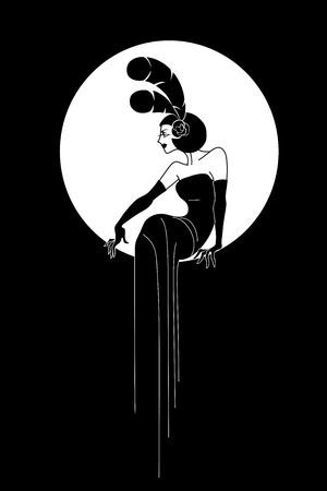 아트 데코 스타일의 포스터 디자인, 여자 실루엣, 우아한 패션 스타일 일러스트