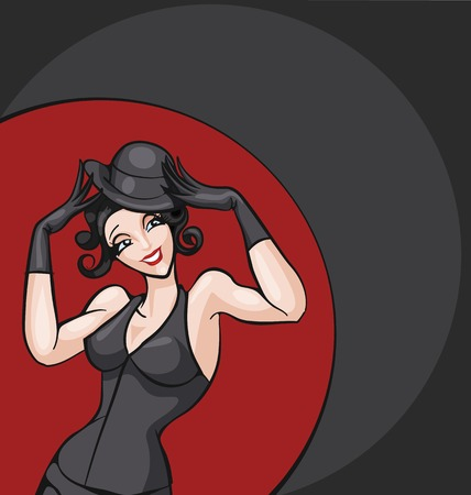 actresses: standing woman from cabaret, burlesque posing in costume. pin-up style Illustration