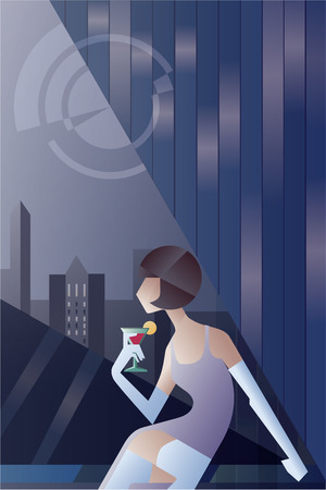 poster art: Twenties style background abstract geometric design with elegant woman sitting with cocktail looking night sity scape Illustration