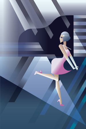 twenties: Twenties style background geometric design with flappers girl  dancing on night club party